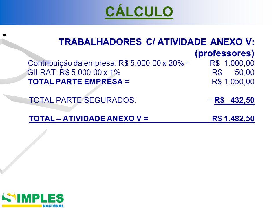 CÁLCULO TRABALHADORES C/ ATIVIDADE ANEXO V: (professores) Contribuição da empresa: R$ 5.000,00 x 20% = R$ 1.000,00 GILRAT: R$ 5.000,00 x 1% R$ 50,00 T