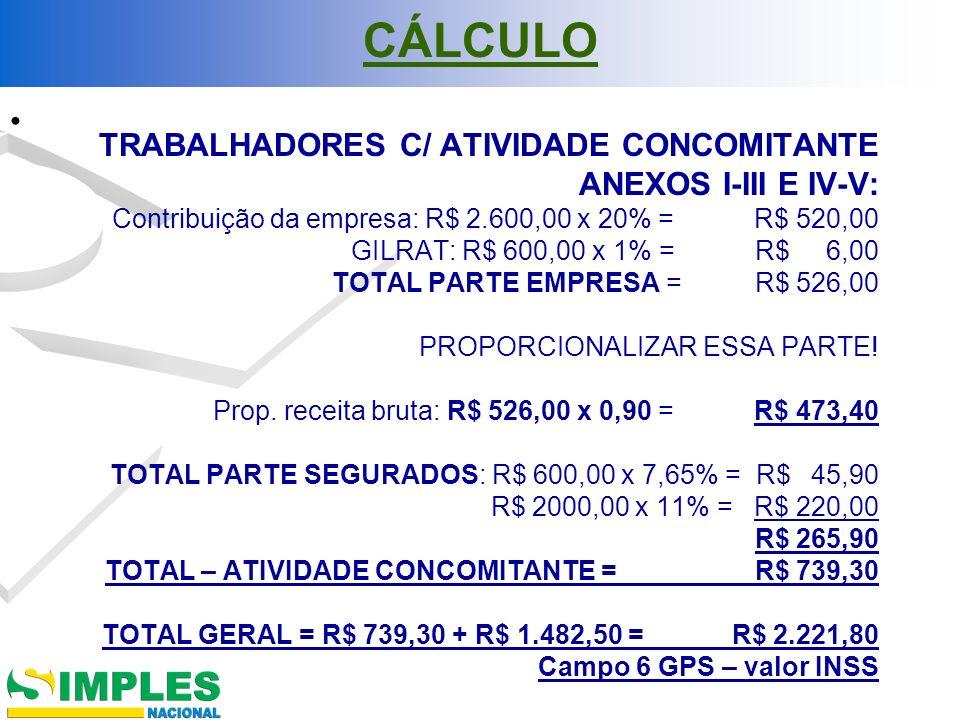 CÁLCULO TRABALHADORES C/ ATIVIDADE CONCOMITANTE ANEXOS I-III E IV-V: Contribuição da empresa: R$ 2.600,00 x 20% = R$ 520,00 GILRAT: R$ 600,00 x 1% = R