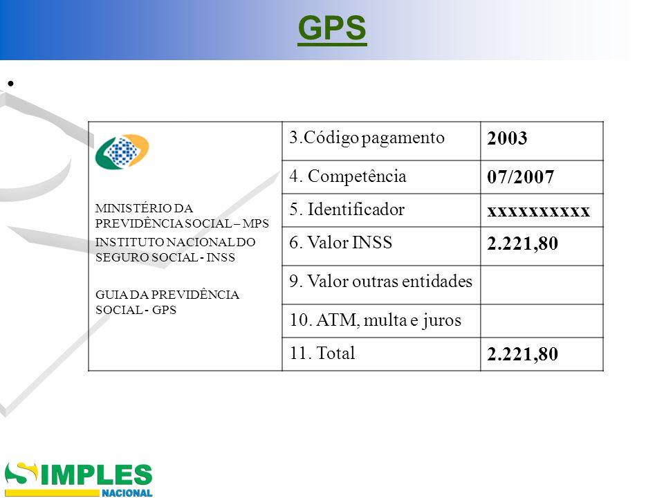 GPS MINISTÉRIO DA PREVIDÊNCIA SOCIAL – MPS INSTITUTO NACIONAL DO SEGURO SOCIAL - INSS GUIA DA PREVIDÊNCIA SOCIAL - GPS 3.Código pagamento 2003 4. Comp