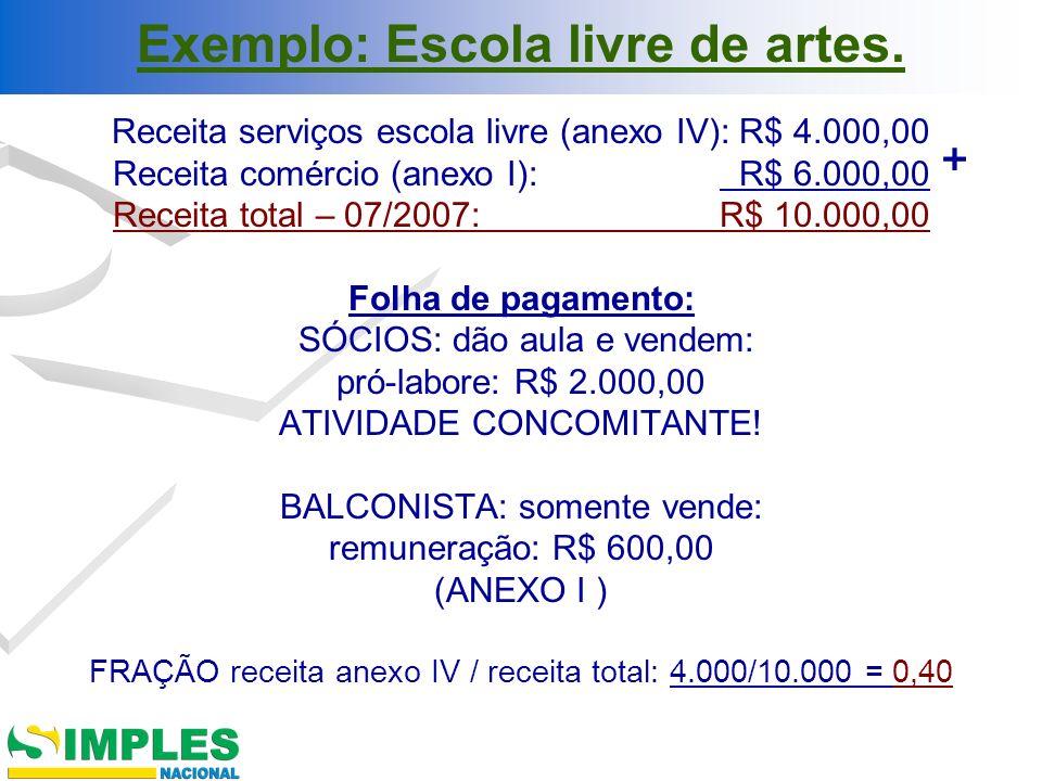 Exemplo: Escola livre de artes. Receita serviços escola livre (anexo IV): R$ 4.000,00 Receita comércio (anexo I): R$ 6.000,00 Receita total – 07/2007:
