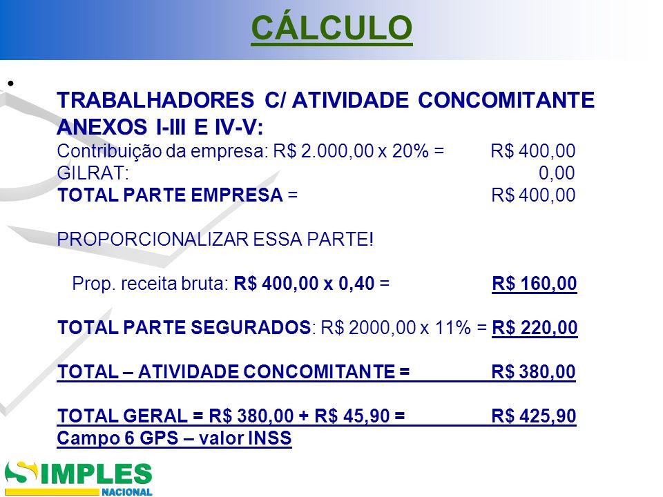 CÁLCULO TRABALHADORES C/ ATIVIDADE CONCOMITANTE ANEXOS I-III E IV-V: Contribuição da empresa: R$ 2.000,00 x 20% = R$ 400,00 GILRAT: 0,00 TOTAL PARTE E