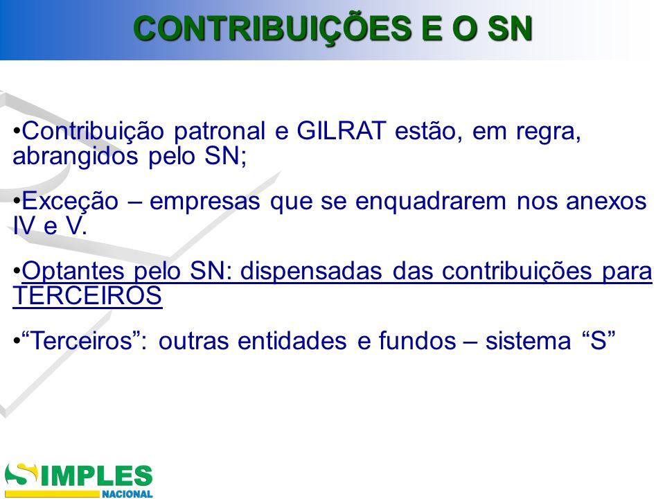 Contribuição patronal e GILRAT estão, em regra, abrangidos pelo SN; Exceção – empresas que se enquadrarem nos anexos IV e V. Optantes pelo SN: dispens