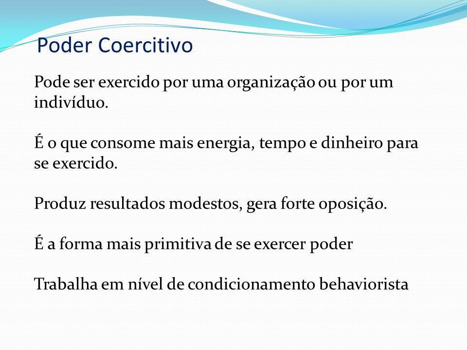 Poder Coercitivo = Pune, ativamente, o comportamento indesejado Poder Compensatório = Compensa o comportamento desejado e pune, passivamente, o compor