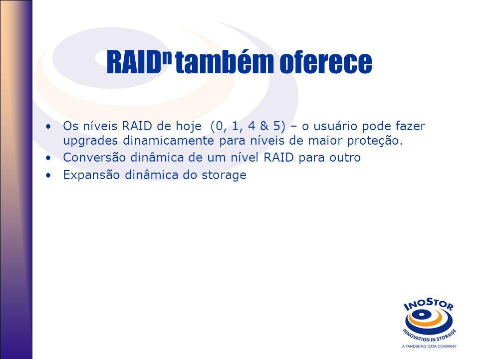 RAID n também oferece Os níveis RAID de hoje (0, 1, 4 & 5) – o usuário pode fazer upgrades dinamicamente para níveis de maior proteção. Conversão dinâ