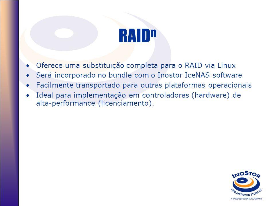 RAID n Oferece uma substituição completa para o RAID via Linux Será incorporado no bundle com o Inostor IceNAS software Facilmente transportado para outras plataformas operacionais Ideal para implementação em controladoras (hardware) de alta-performance (licenciamento).