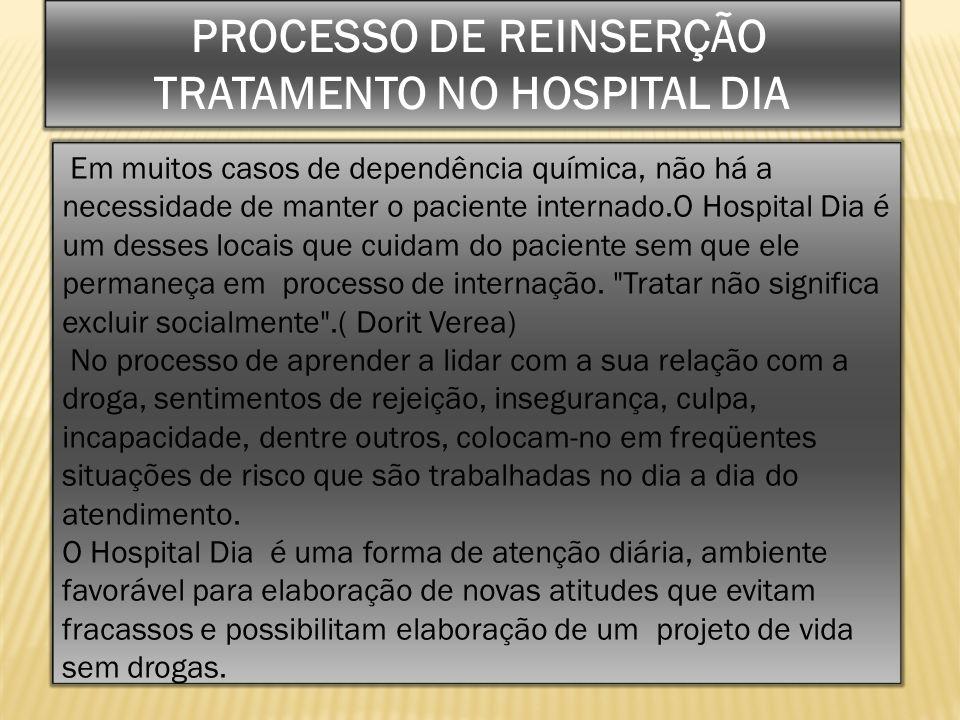 Em muitos casos de dependência química, não há a necessidade de manter o paciente internado.O Hospital Dia é um desses locais que cuidam do paciente s