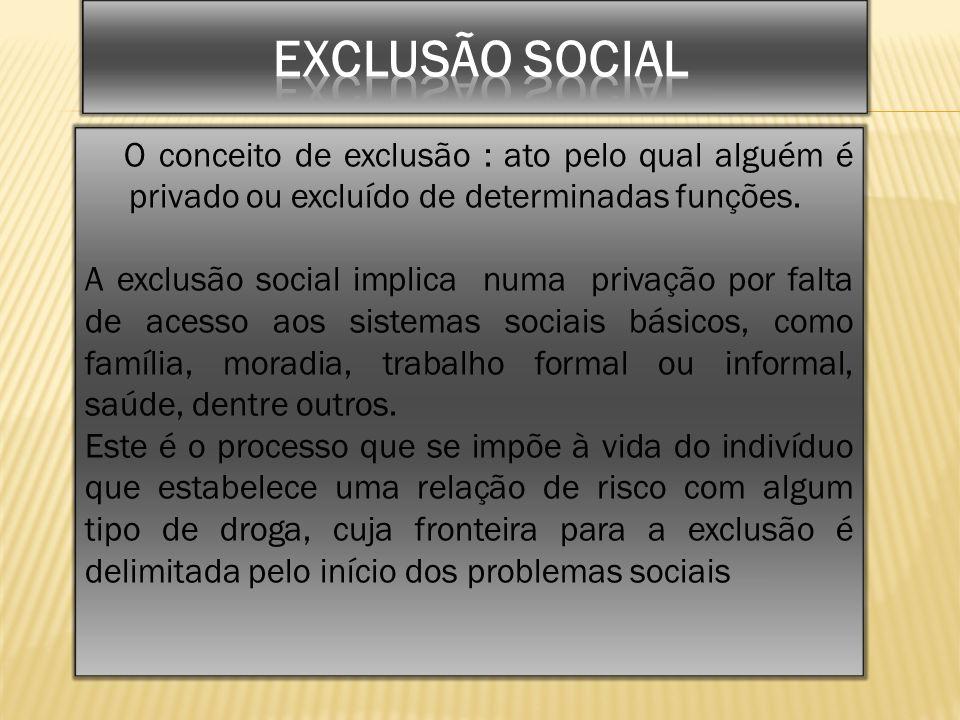 O conceito de exclusão : ato pelo qual alguém é privado ou excluído de determinadas funções. A exclusão social implica numa privação por falta de aces