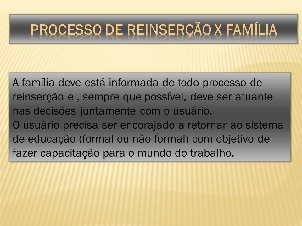 A família deve está informada de todo processo de reinserção e, sempre que possível, deve ser atuante nas decisões juntamente com o usuário. O usuário