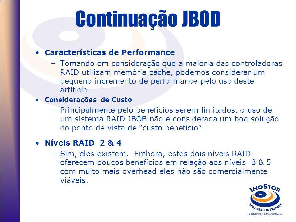 JBOD (Just a Bunch Of Disks) Descrição JBOD –JBOD é simplesmente um grupo de discos. O Disk arrays pode ser configurado para ser visto pelo servidor c