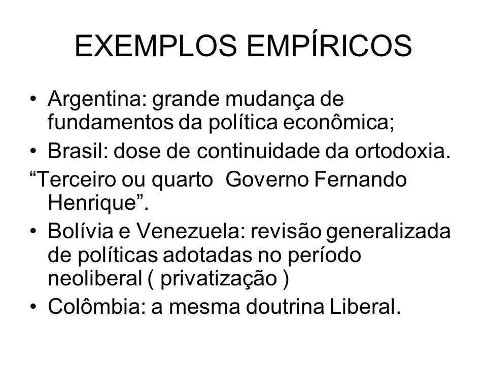 EXEMPLOS EMPÍRICOS Argentina: grande mudança de fundamentos da política econômica; Brasil: dose de continuidade da ortodoxia. Terceiro ou quarto Gover