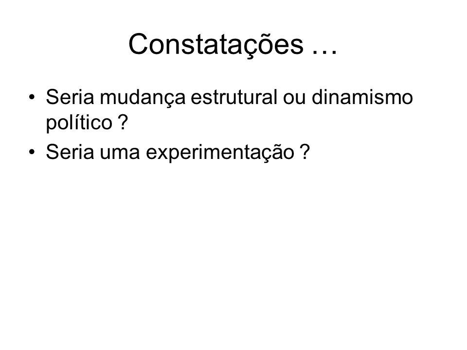 Constatações … Seria mudança estrutural ou dinamismo político ? Seria uma experimentação ?