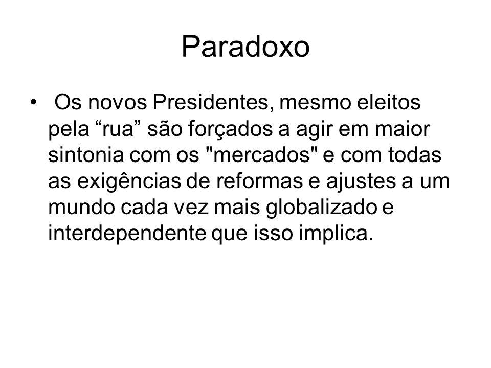 Decepção e esclarecimento As populações da América do Sul ficaram decepcionadas com as reformas estruturais e com o desempenho social da democracia e resolveram restaurar a esperança do que a racionalidade.