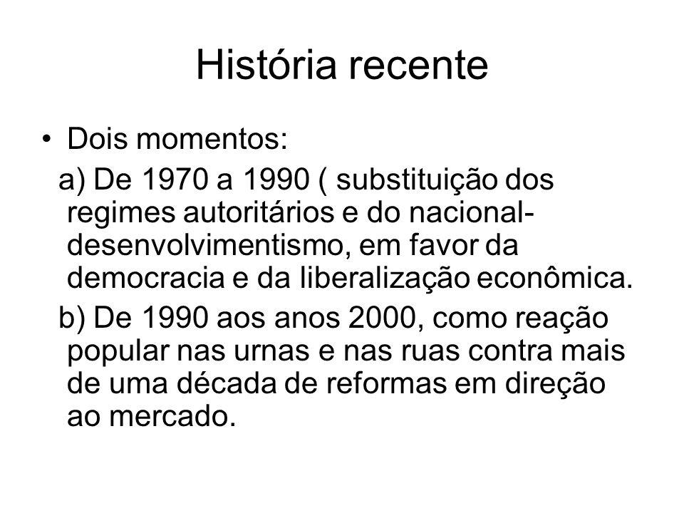 História recente Dois momentos: a) De 1970 a 1990 ( substituição dos regimes autoritários e do nacional- desenvolvimentismo, em favor da democracia e