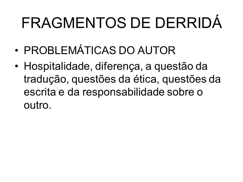 FRAGMENTOS DE DERRIDÁ PROBLEMÁTICAS DO AUTOR Hospitalidade, diferença, a questão da tradução, questões da ética, questões da escrita e da responsabili
