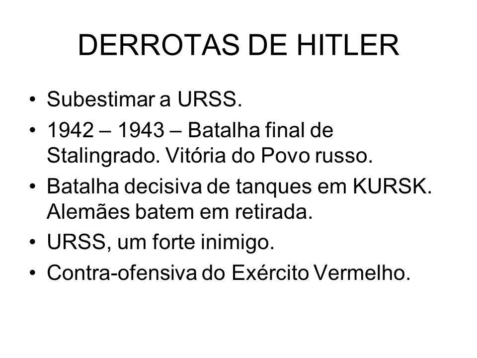 DERROTAS DE HITLER Subestimar a URSS. 1942 – 1943 – Batalha final de Stalingrado. Vitória do Povo russo. Batalha decisiva de tanques em KURSK. Alemães