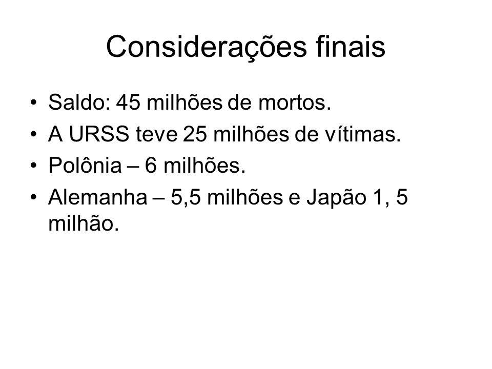 Considerações finais Saldo: 45 milhões de mortos. A URSS teve 25 milhões de vítimas. Polônia – 6 milhões. Alemanha – 5,5 milhões e Japão 1, 5 milhão.