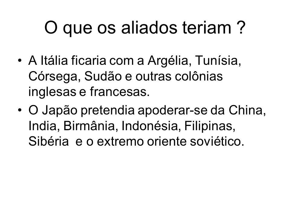O que os aliados teriam ? A Itália ficaria com a Argélia, Tunísia, Córsega, Sudão e outras colônias inglesas e francesas. O Japão pretendia apoderar-s