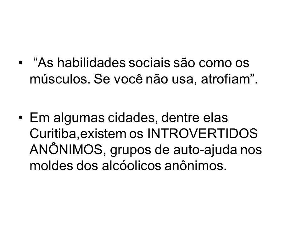 As habilidades sociais são como os músculos. Se você não usa, atrofiam. Em algumas cidades, dentre elas Curitiba,existem os INTROVERTIDOS ANÔNIMOS, gr