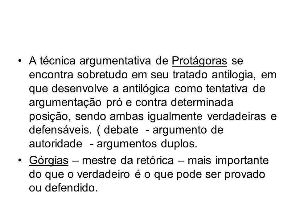 A técnica argumentativa de Protágoras se encontra sobretudo em seu tratado antilogia, em que desenvolve a antilógica como tentativa de argumentação pr