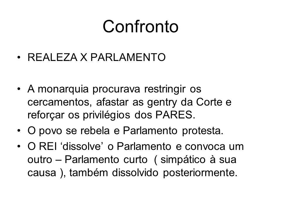 Confronto REALEZA X PARLAMENTO A monarquia procurava restringir os cercamentos, afastar as gentry da Corte e reforçar os privilégios dos PARES. O povo