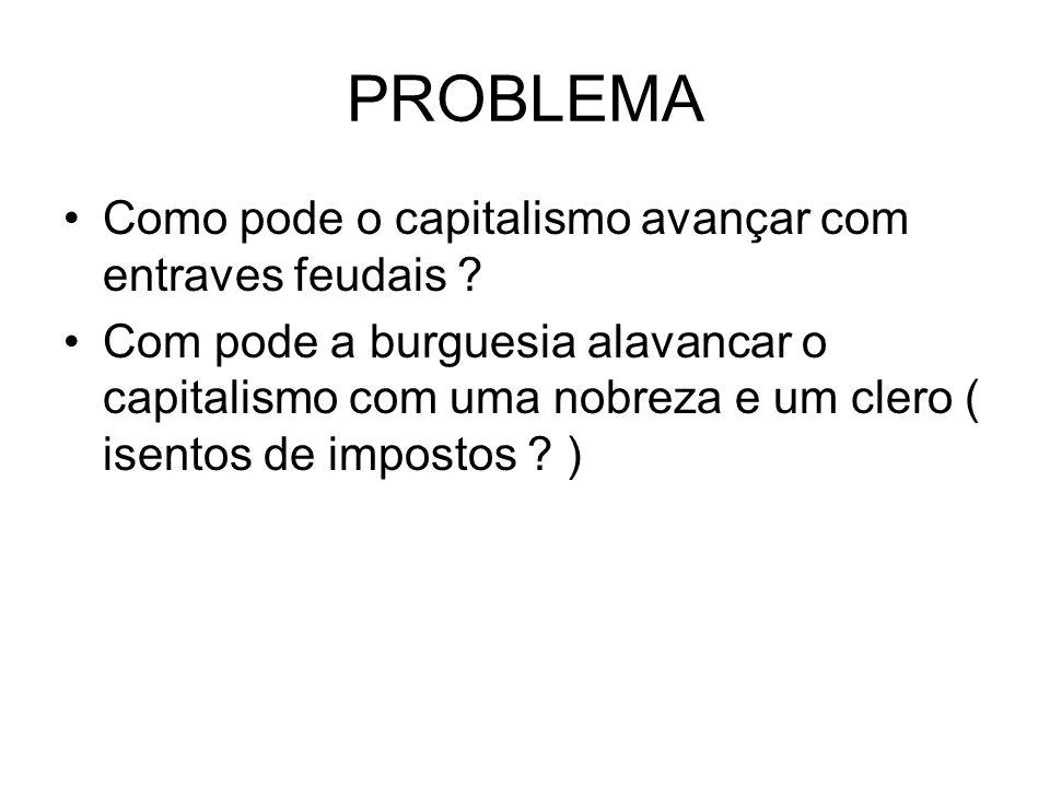 PROBLEMA Como pode o capitalismo avançar com entraves feudais ? Com pode a burguesia alavancar o capitalismo com uma nobreza e um clero ( isentos de i