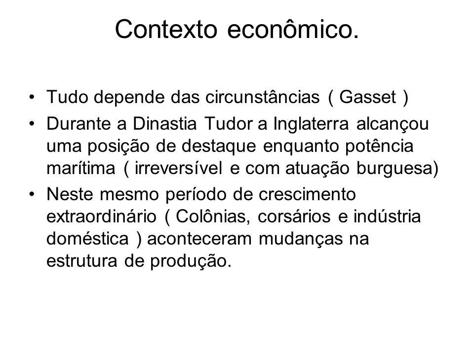 Contexto econômico. Tudo depende das circunstâncias ( Gasset ) Durante a Dinastia Tudor a Inglaterra alcançou uma posição de destaque enquanto potênci
