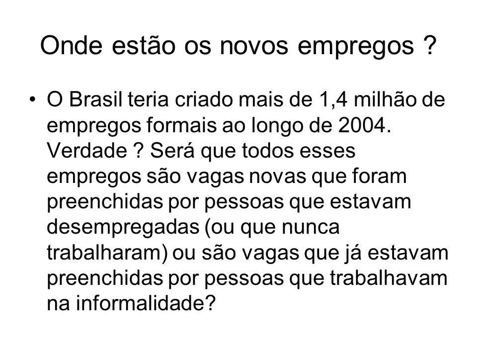 Onde estão os novos empregos ? O Brasil teria criado mais de 1,4 milhão de empregos formais ao longo de 2004. Verdade ? Será que todos esses empregos