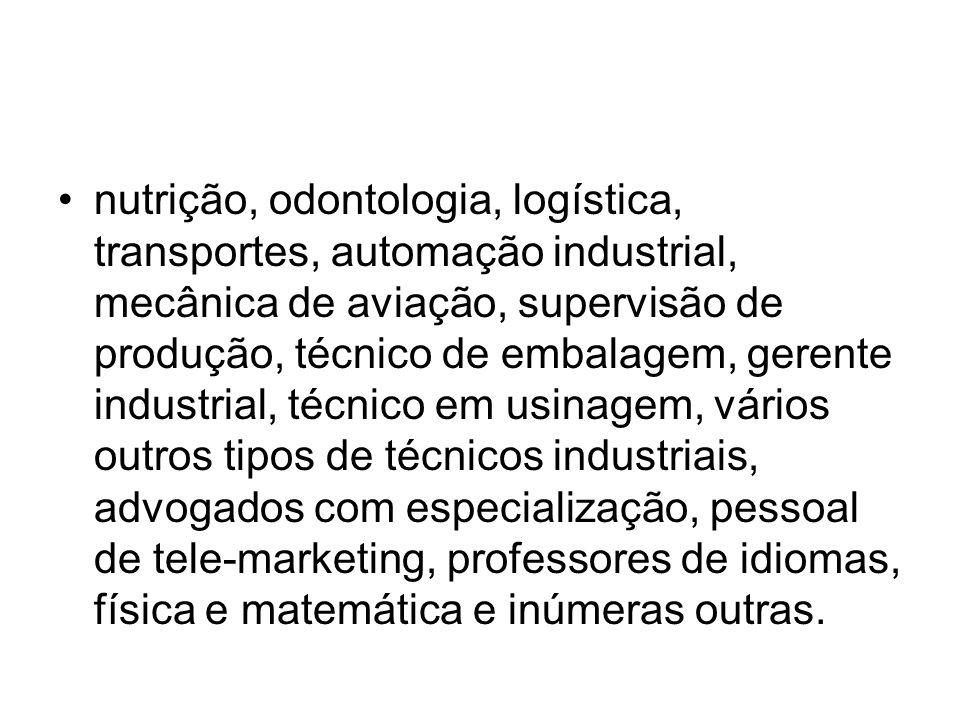 nutrição, odontologia, logística, transportes, automação industrial, mecânica de aviação, supervisão de produção, técnico de embalagem, gerente indust