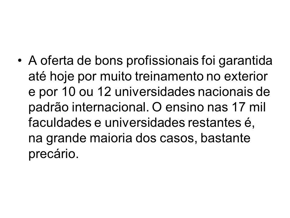 A oferta de bons profissionais foi garantida até hoje por muito treinamento no exterior e por 10 ou 12 universidades nacionais de padrão internacional