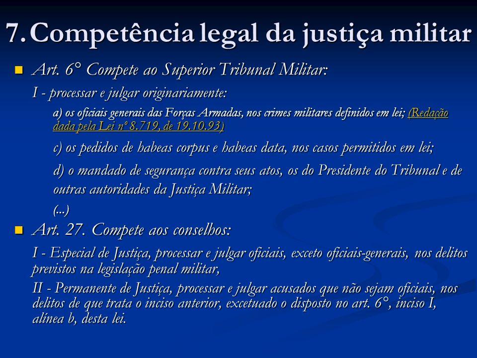 Art.6° Compete ao Superior Tribunal Militar: Art.
