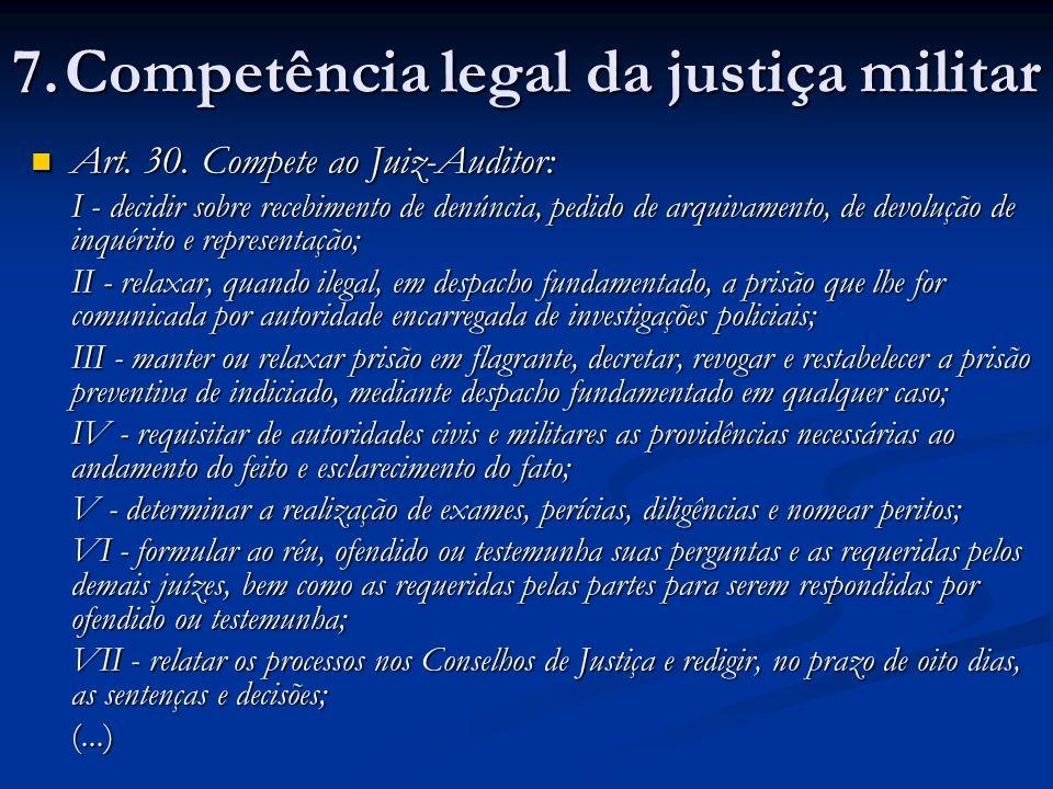 Art.30. Compete ao Juiz-Auditor: Art. 30.