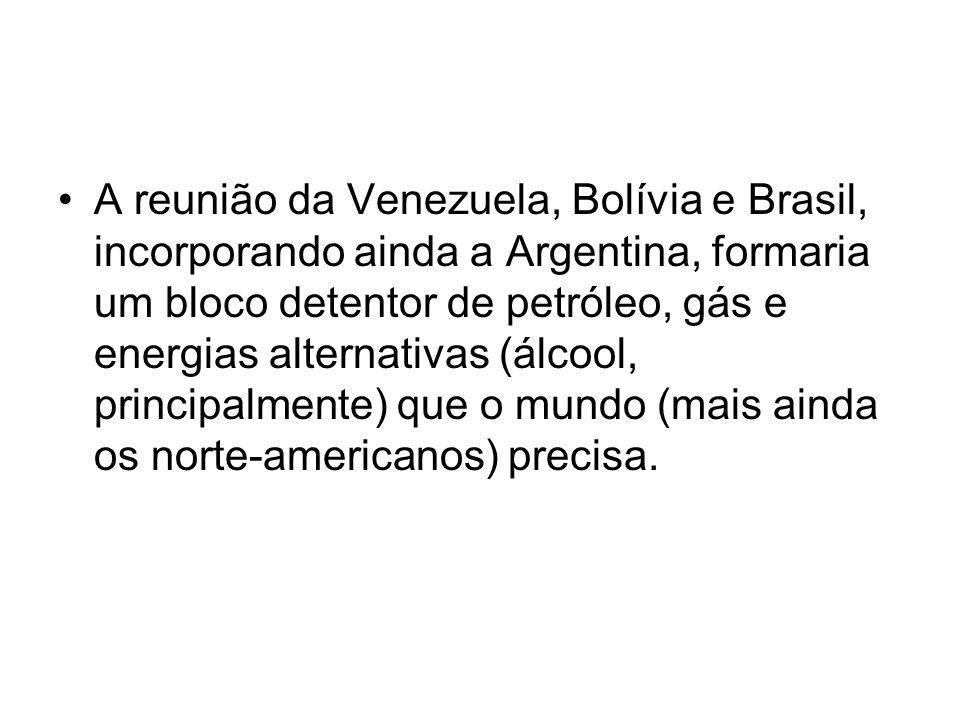 A reunião da Venezuela, Bolívia e Brasil, incorporando ainda a Argentina, formaria um bloco detentor de petróleo, gás e energias alternativas (álcool, principalmente) que o mundo (mais ainda os norte-americanos) precisa.