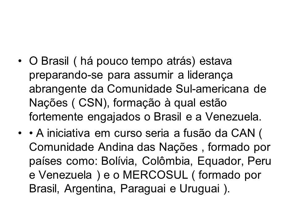 O Brasil ( há pouco tempo atrás) estava preparando-se para assumir a liderança abrangente da Comunidade Sul-americana de Nações ( CSN), formação à qua