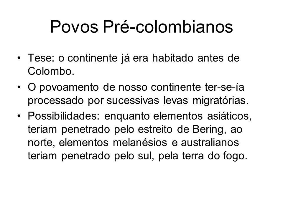 Povos Pré-colombianos Tese: o continente já era habitado antes de Colombo. O povoamento de nosso continente ter-se-ía processado por sucessivas levas