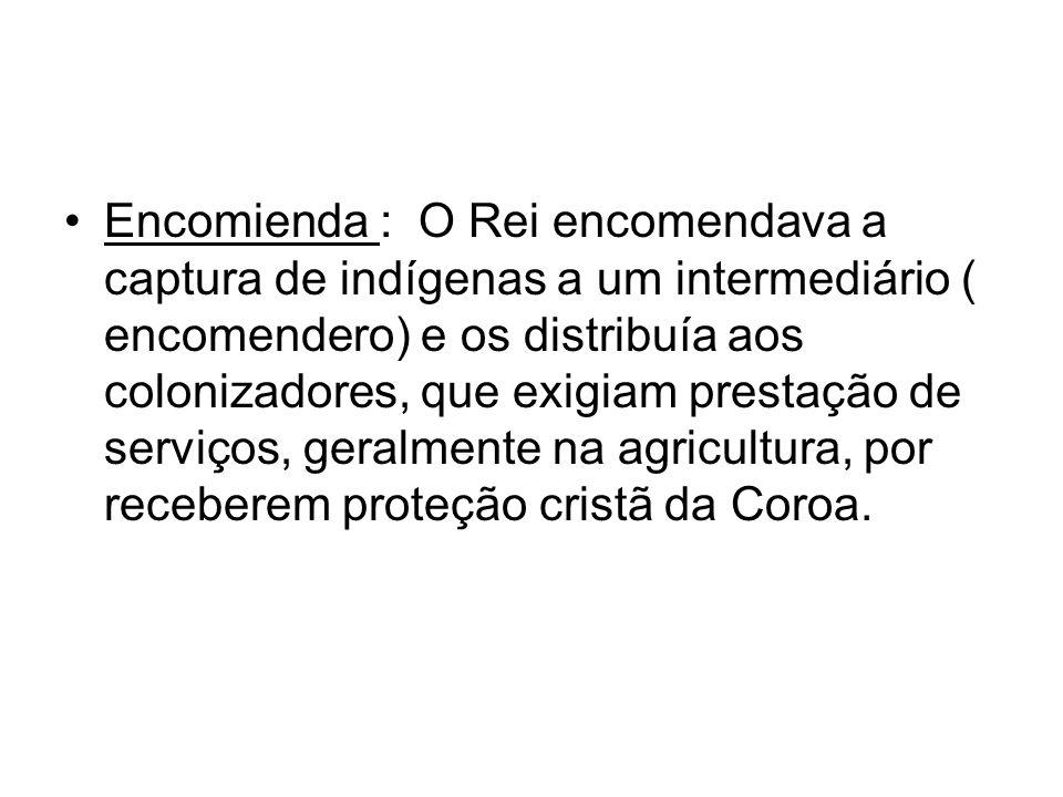 Encomienda : O Rei encomendava a captura de indígenas a um intermediário ( encomendero) e os distribuía aos colonizadores, que exigiam prestação de se