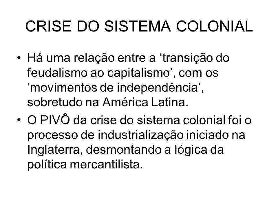 CRISE DO SISTEMA COLONIAL Há uma relação entre a transição do feudalismo ao capitalismo, com os movimentos de independência, sobretudo na América Lati