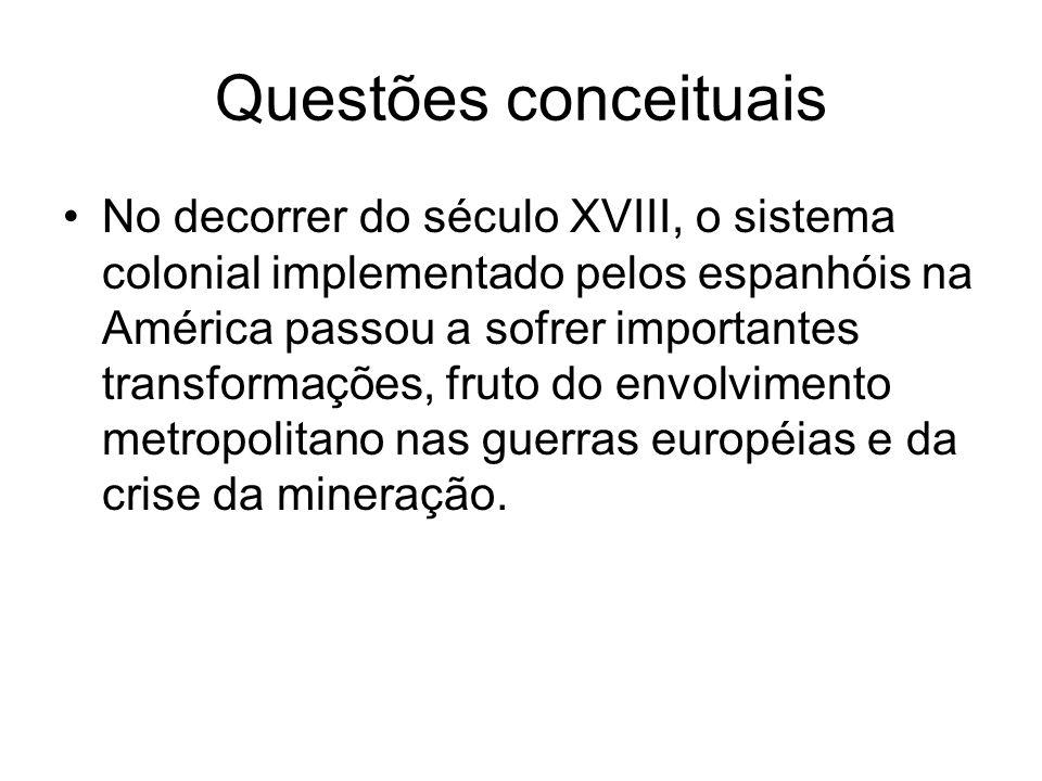 Questões conceituais No decorrer do século XVIII, o sistema colonial implementado pelos espanhóis na América passou a sofrer importantes transformaçõe