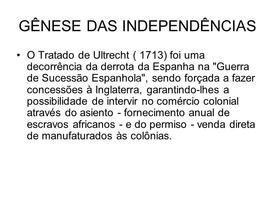 GÊNESE DAS INDEPENDÊNCIAS O Tratado de Ultrecht ( 1713) foi uma decorrência da derrota da Espanha na