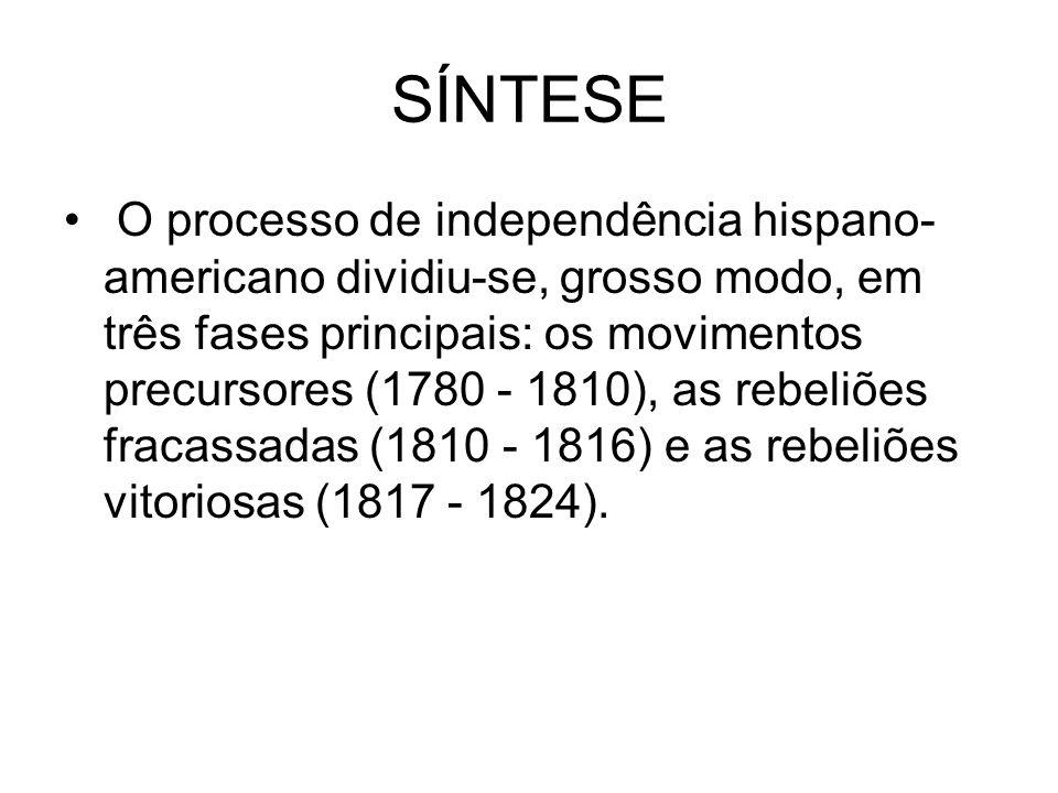 SÍNTESE O processo de independência hispano- americano dividiu-se, grosso modo, em três fases principais: os movimentos precursores (1780 - 1810), as