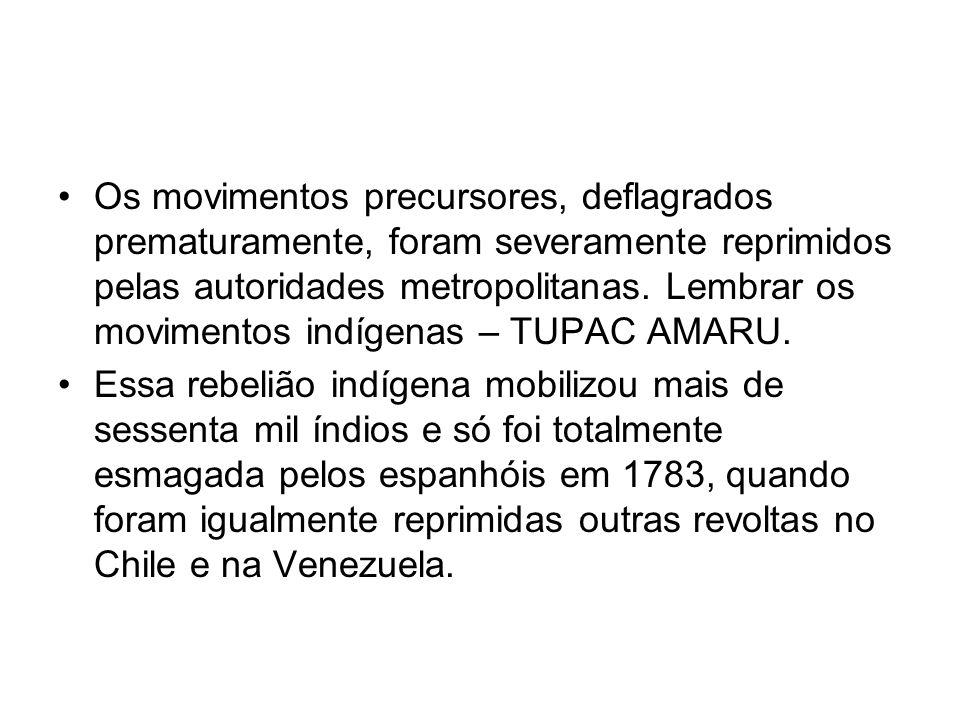 Os movimentos precursores, deflagrados prematuramente, foram severamente reprimidos pelas autoridades metropolitanas. Lembrar os movimentos indígenas