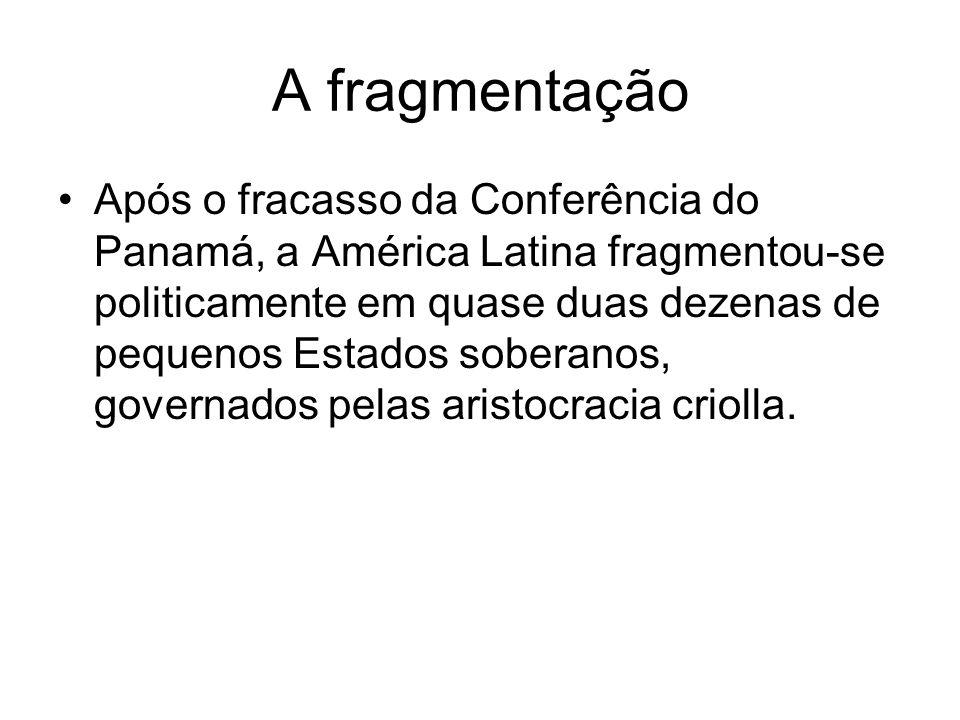 A fragmentação Após o fracasso da Conferência do Panamá, a América Latina fragmentou-se politicamente em quase duas dezenas de pequenos Estados sobera