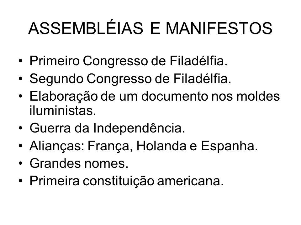 ASSEMBLÉIAS E MANIFESTOS Primeiro Congresso de Filadélfia. Segundo Congresso de Filadélfia. Elaboração de um documento nos moldes iluministas. Guerra