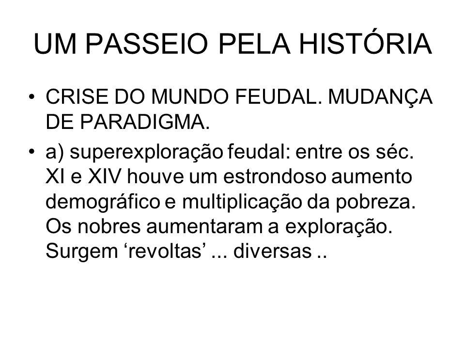 UM PASSEIO PELA HISTÓRIA CRISE DO MUNDO FEUDAL. MUDANÇA DE PARADIGMA. a) superexploração feudal: entre os séc. XI e XIV houve um estrondoso aumento de