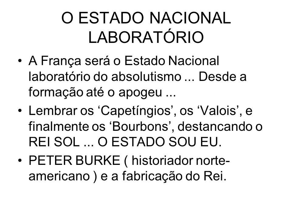 O ESTADO NACIONAL LABORATÓRIO A França será o Estado Nacional laboratório do absolutismo... Desde a formação até o apogeu... Lembrar os Capetíngios, o