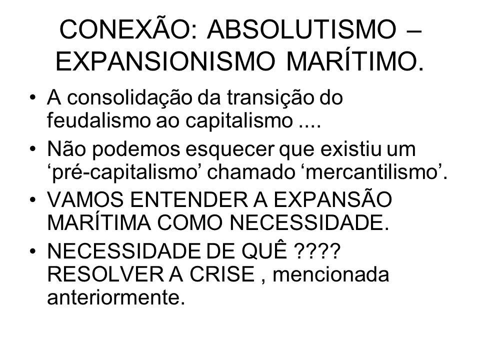 CONEXÃO: ABSOLUTISMO – EXPANSIONISMO MARÍTIMO. A consolidação da transição do feudalismo ao capitalismo.... Não podemos esquecer que existiu um pré-ca