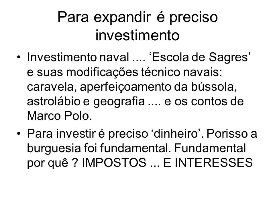 Para expandir é preciso investimento Investimento naval.... Escola de Sagres e suas modificações técnico navais: caravela, aperfeiçoamento da bússola,