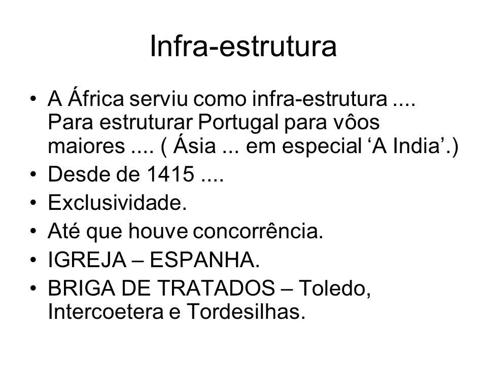 Infra-estrutura A África serviu como infra-estrutura.... Para estruturar Portugal para vôos maiores.... ( Ásia... em especial A India.) Desde de 1415.
