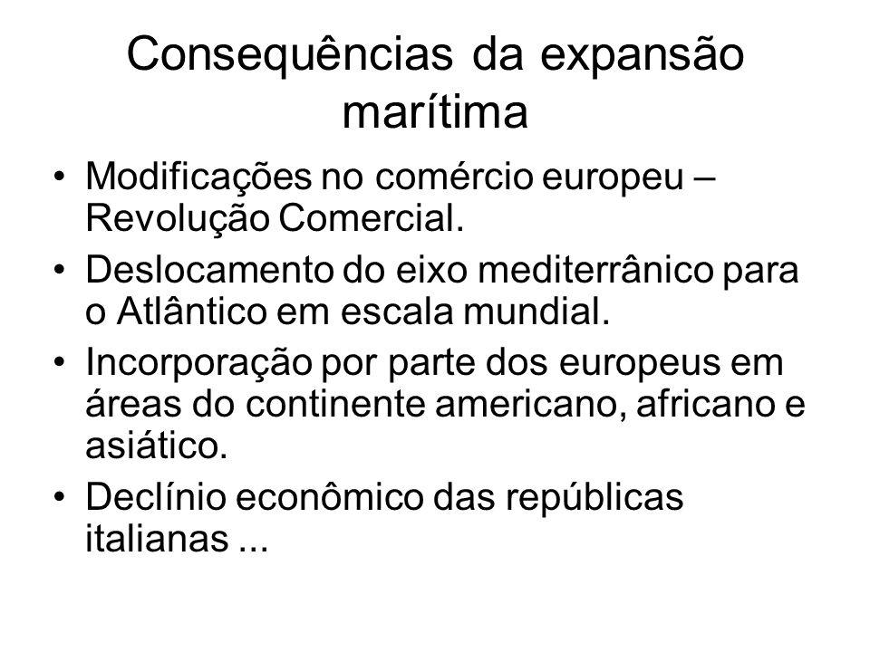 Consequências da expansão marítima Modificações no comércio europeu – Revolução Comercial. Deslocamento do eixo mediterrânico para o Atlântico em esca