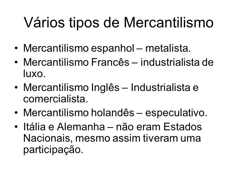 Vários tipos de Mercantilismo Mercantilismo espanhol – metalista. Mercantilismo Francês – industrialista de luxo. Mercantilismo Inglês – Industrialist
