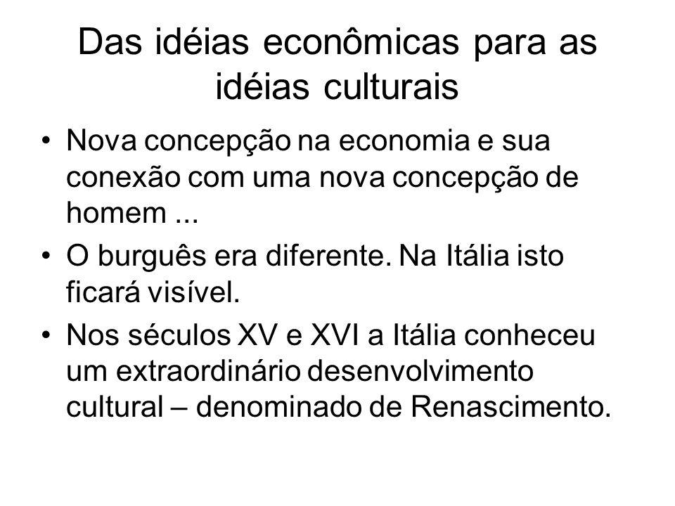 Das idéias econômicas para as idéias culturais Nova concepção na economia e sua conexão com uma nova concepção de homem... O burguês era diferente. Na